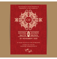 Wedding red vintage invitation vector