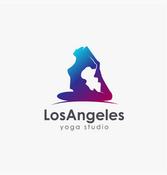 women yoga pose logo icon template vector image