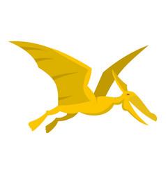 Yellow pterosaurs dinosaur icon isolated vector
