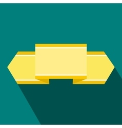 Yellow ribbon icon flat style vector