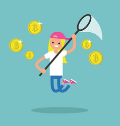 young female character mining bitcoins conceptual vector image