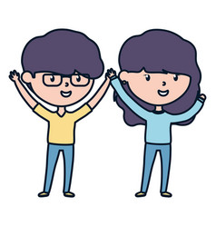 young man and woman celebrating hands up vector image
