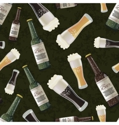 Bottles of dark and light beer on green background vector image