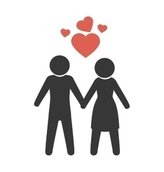 Couple just married with heart vector