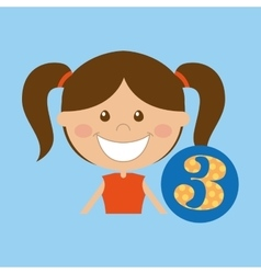 happy girl student school number icon vector image vector image