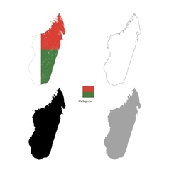 Madagascar country black silhouette and with flag vector image
