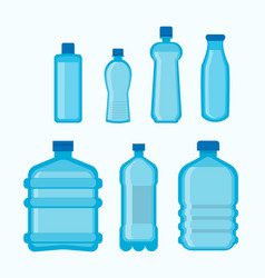 plastic bottles shapes isolated flat icons vector image vector image