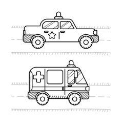 Cars coloring book for kids Ambulance police vector image vector image