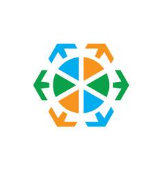 circle arrow sign logo vector image