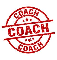 Coach round red grunge stamp vector