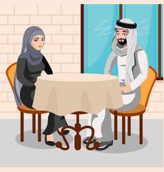 eastern people having dinner in restaurant vector image