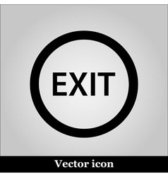 Exit icon on grey background vector image vector image