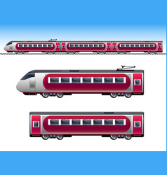 passenger red train vector image vector image