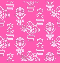 pink and white line flower pots seamless vector image vector image