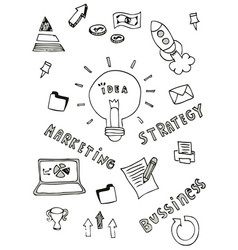 business doodle icon design free hand vector image vector image