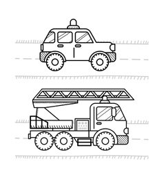 Cars coloring book for kids Firetruck police vector image vector image