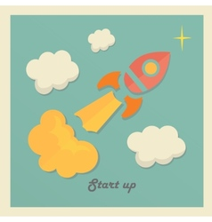 Retro concept with rocket for new business project vector image