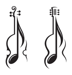 violin guitar and note vector image vector image