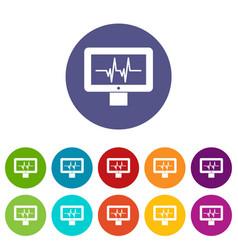 electrocardiogram monitor set icons vector image