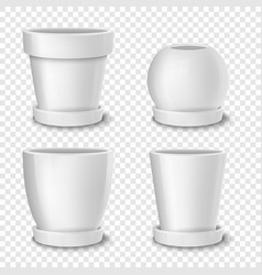 realistic white empty flower pot with plate vector image vector image