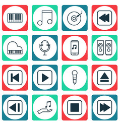 set of 16 music icons includes gramophone mike vector image vector image