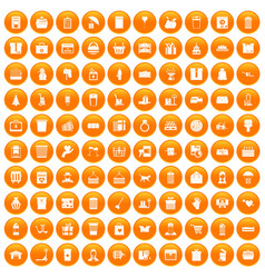 100 box icons set orange vector