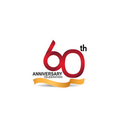 60 anniversary design logotype red color vector