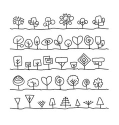 abstract trees collection vector image
