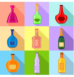 Alcohol bottles icons set flat style vector