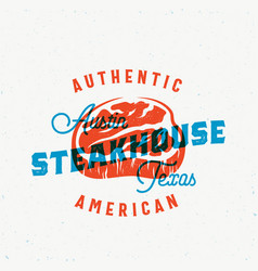 American steakhouse vintage label card vector