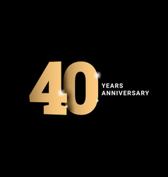 Anniversary 40 gold 3d numbers poster template vector