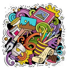 Artist cartoon doodle funny art design vector