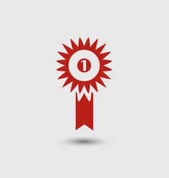 badge with ribbons or award icon on white vector image