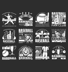 Baseball players with bats balls and trophy cups vector