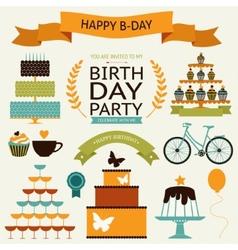 birthday celebration decorative icons vector image