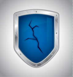 Broken security shield vector image