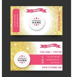 Business card template golden pattern on white vector