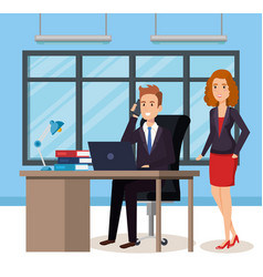 business people in the office isometric avatars vector image
