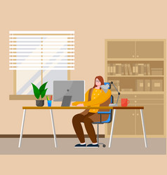 business woman at desk is working on the vector image