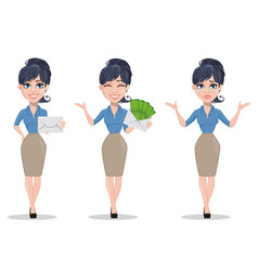 Business woman set of three poses vector