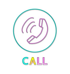 call round linear button template with receiver vector image