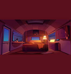 Camping rv trailer car interior with bed at night vector