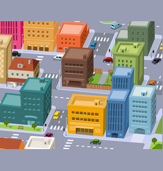 cartoon city - downtown scene vector image