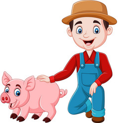 cartoon young farmer with a pig vector image