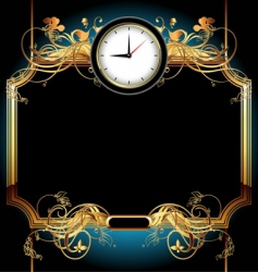 Clocks with floral elements vector