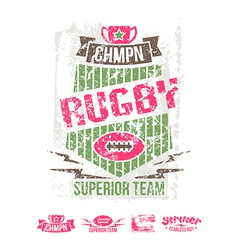 College girl team rugby retro emblem vector image