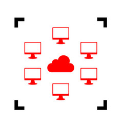 computers network sign red icon inside vector image