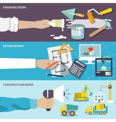 Construction design flat banner set vector image