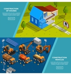 Construction Vehicles Isometric Banners vector
