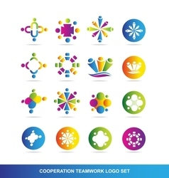 Cooperation teamwork logo vector